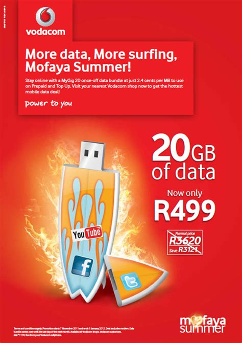 vodacom prepaid deals vodacom slashes price of 20gb prepaid data