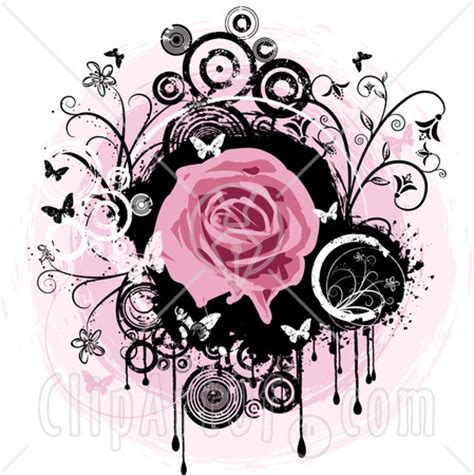 pink and black rose tattoos 27864 clipart illustration of a blooming pink a