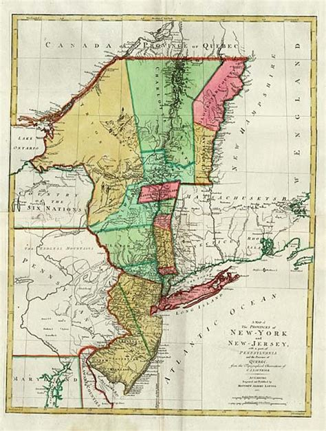 a map of the provinces of new york and new jersey with a