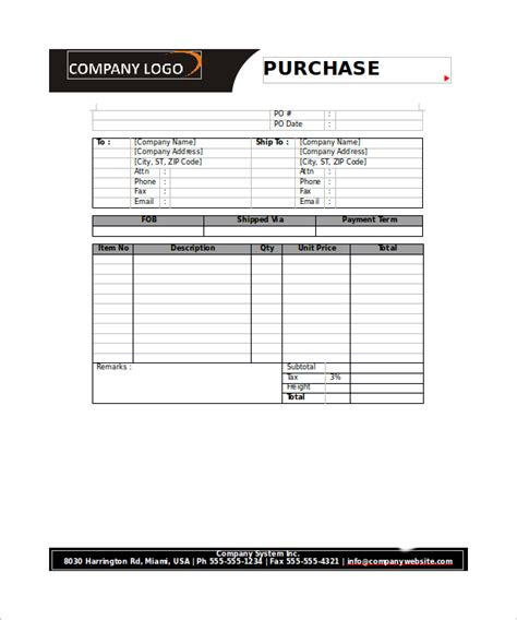 23 Order Form Templates Pdf Word Excel Sle Templates Purchase Order Form Template