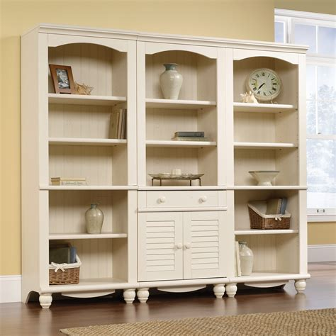 sauder harbor view bookcase with doors antique white harbor view library bookcase with doors 158082 sauder