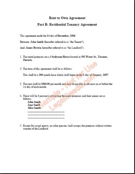 Letter Rent To Own Rent To Own Agreement For Alberta Sle Image