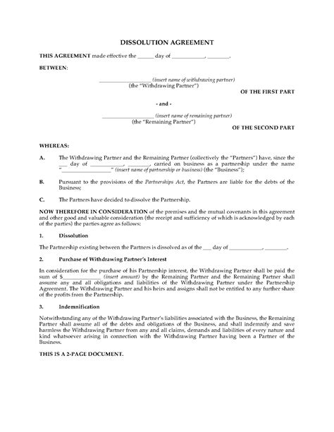 partnership agreement ontario template ontario partnership dissolution agreement forms