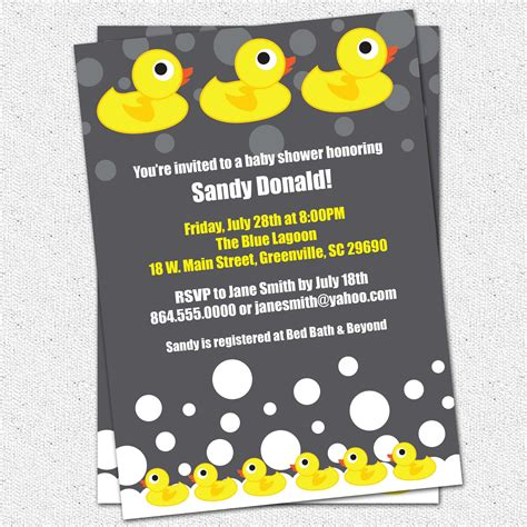 Rubber Duck Baby Shower Invitations Template Best Template Collection Rubber Ducky Baby Shower Invitations Template Free