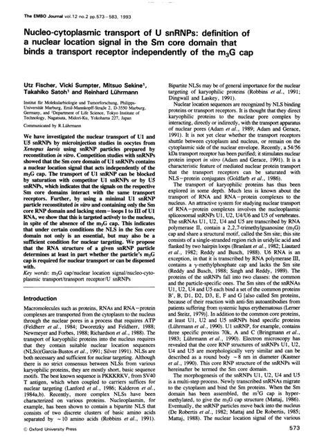 (PDF) Nucleo-cytoplasmic transport of U snRNPs: Definition