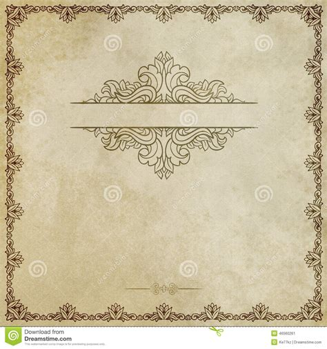 decorative designs on paper old grunge paper with decorative border stock image