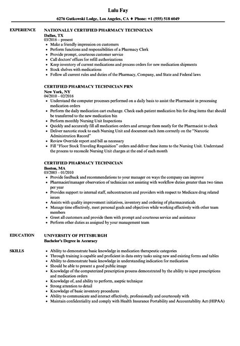 Certified Pharmacy Technician Resume by Certified Pharmacy Technician Resume Sles Velvet