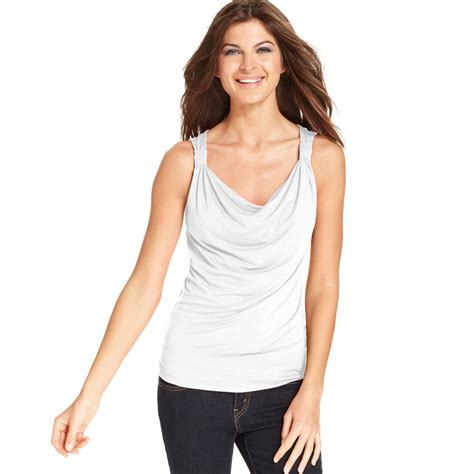 draped tank top ellen tracy sleeveless draped tank top in white lyst