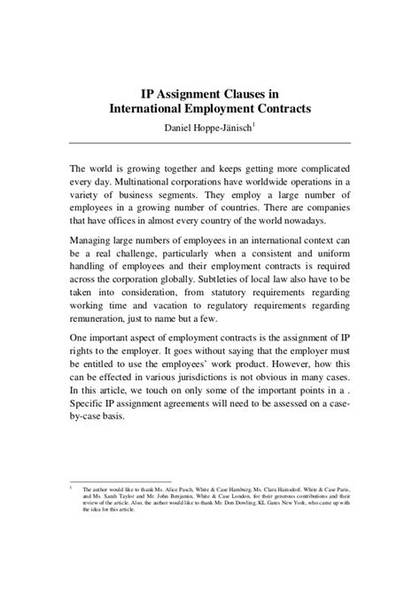Cv In Clause Ip Assignments In International Employment Agreements