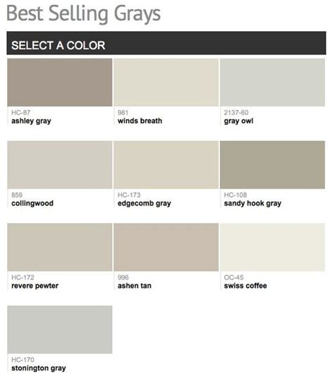 best selling popular shades of gray light neutral paint colors from benjamin paint