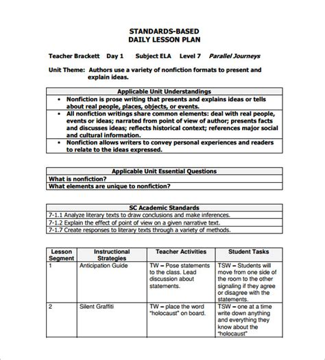 daily lesson plan template   word excel  format   premium templates
