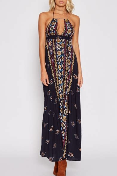 Front Ethnic Maxi ethnic floral pattern halter neck cutout hollow front open back maxi dress beautifulhalo