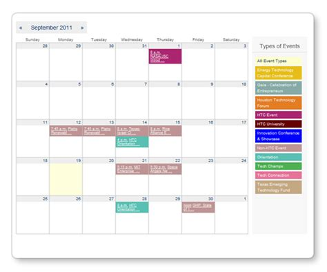 professional event management website calendar event