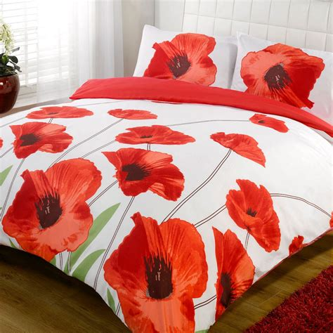 poppy bedding amapola red white poppy floral bold print duvet quilt