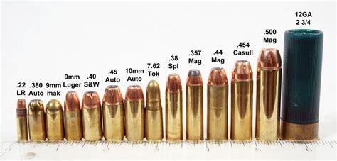 pistol bullet caliber sizes chart some common handgun cartridges lined up next to a 12 gauge