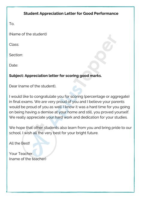 appreciation letter format sample write