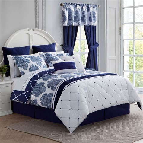 calecca indigo blue bed in a bag 12 pc comforter set