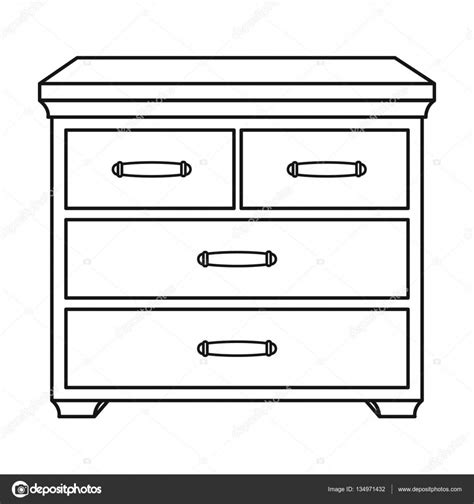 wooden cabinet with drawers wooden cabinet with drawers icon in outline style isolated