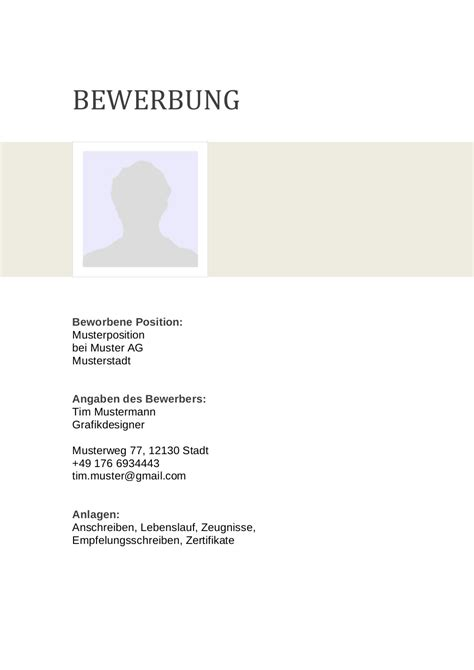 Deckblatt Design Vorlagen bewerbung deckblatt muster vorlage 6 lebenslauf designs