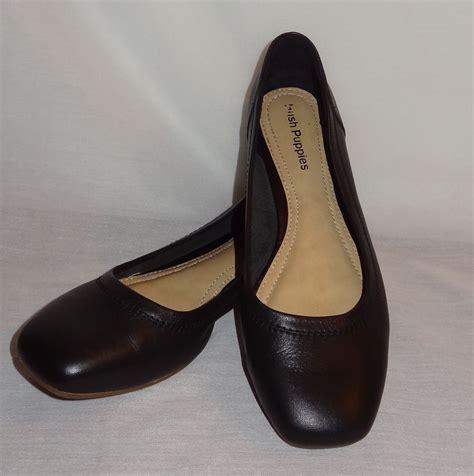 Black Hush Puppies black slip on flat dress shoes size 8m hush puppies