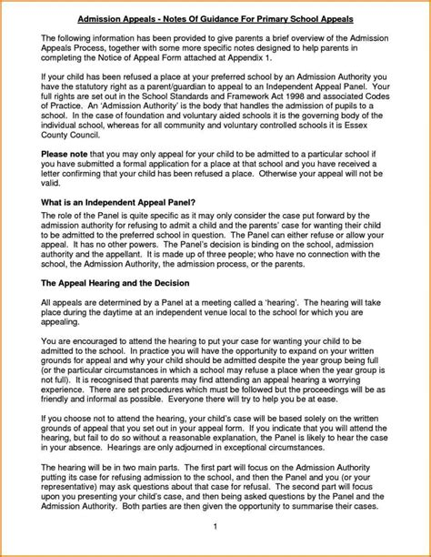 primary school appeal letter examples sampletemplatess