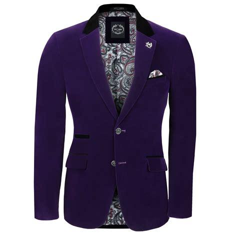 Suit Blazer mens purple velvet vintage 3 suit blazer waistcoat