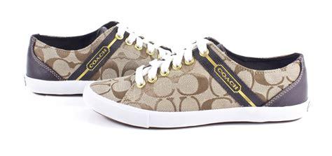 coach shoes coach lesley signature webbing tennis shoes khaki chestnut