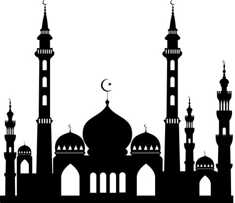 mosque silhouette vector    png