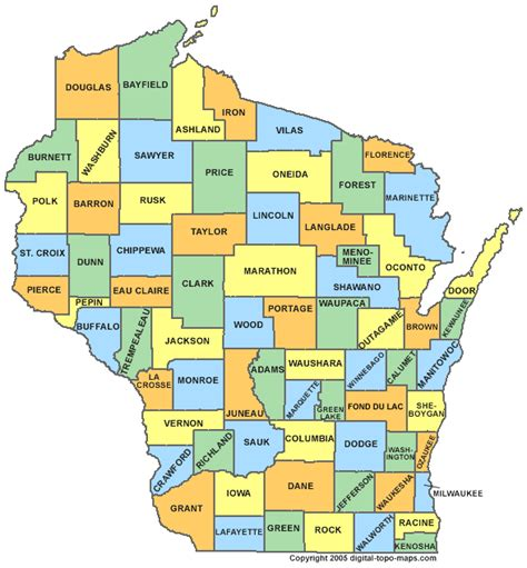 wisconsin county map wi counties map of wisconsin