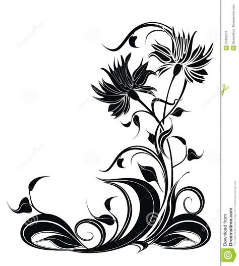 style flower vector background with flowers in grunge style stock