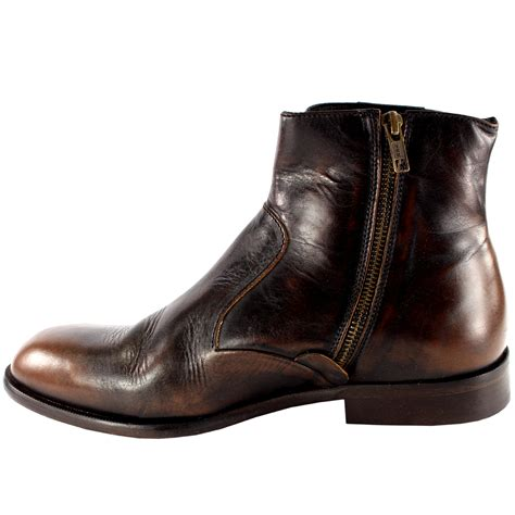 Kickers Zipper Boot Brown mens h by hudson haxton smart side zip leather chelsea