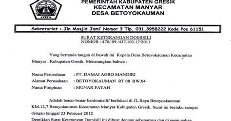 format surat pernyataan damai surat keterangan domisili pt damai agro mandiri