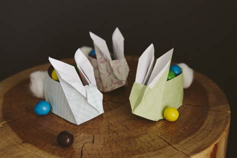 Origami Easter Bunny Basket - 31 diy easter hacks for the whole family design bump