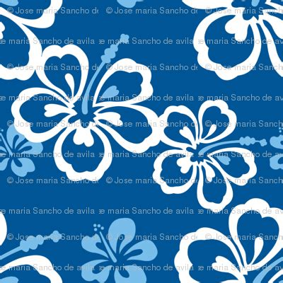 blue hawaiian flowers pattern fabric jamesdean spoonflower