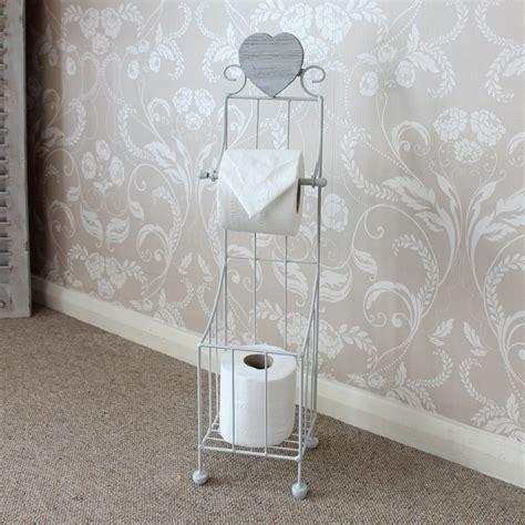 freestanding grey toilet roll holder bathroom shabby