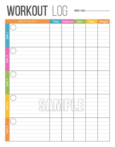 printable food and exercise planner workout log printable fitness printable exercise log