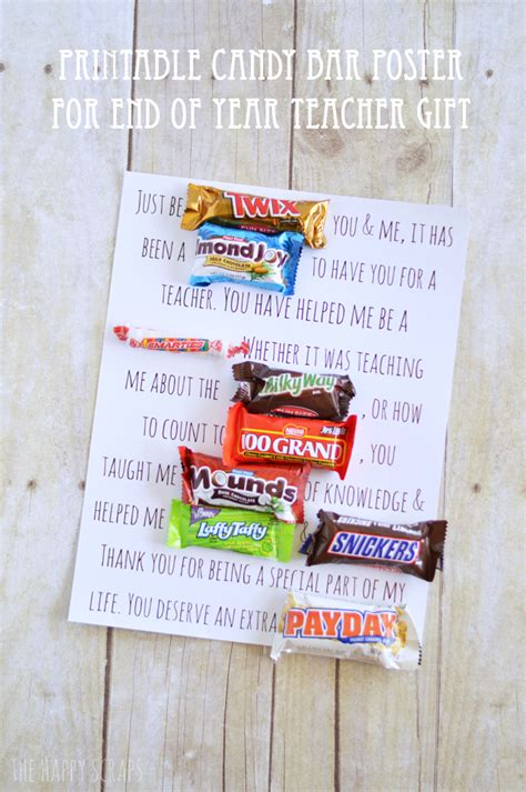 Plakat Candy by Printable Candy Bar Poster Teacher Gift The Happy Scraps