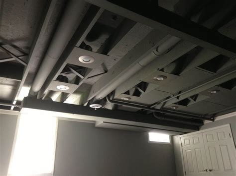 spray paint basement ceiling ideas can lights exposed