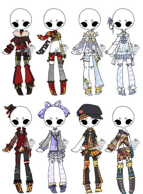Adopted Outfit Batch 06 By Deviladopts On Deviantart How To Draw Chibi Boy Clothes Free