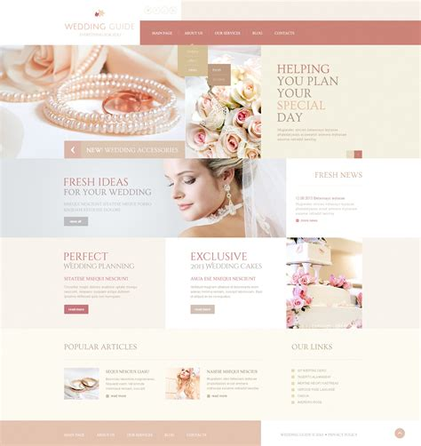 wedding planner website templates wedding guide joomla template 44309