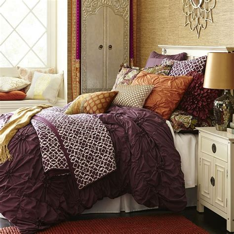 plum colored bedding pier 1 s duvet cover features ruched floral
