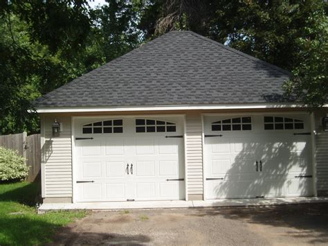 2 car detached garage 2 car with hip roof and custom garage doors sussel builders