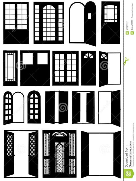 Doors of different types. stock vector. Illustration of