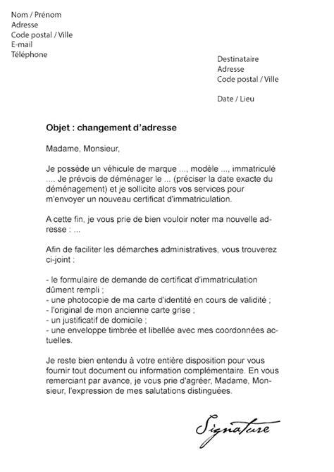 lettre de changement d adresse carte grise mod 232 le de lettre