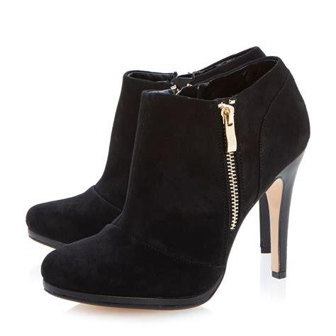 dune addorna zip detail suede shoe boots in black black
