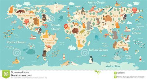 Animal World 5 animals world map stock vector illustration of
