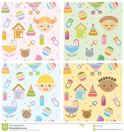 Small Cute House Plans Vector Seamless Fun Baby Patterns Babies Differ Stock