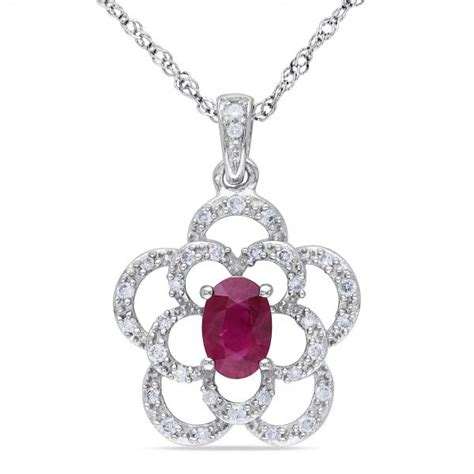 oval ruby flower pendant necklace 14k white gold