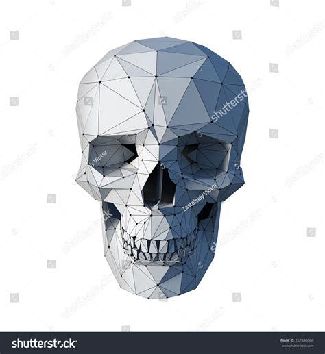 White Low Poly lowpoly style white skull on white stock illustration