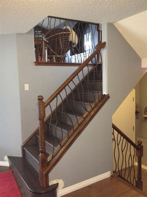home interior railings bent iron design interior railing with a distressed wood
